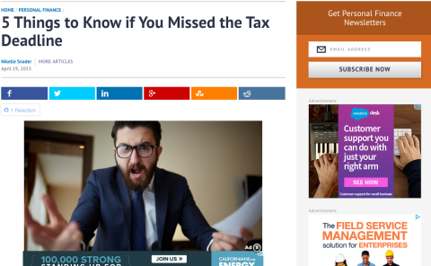 5 Things to know if you missed the Tax Deadline – April 19, 2105 – Cheatsheet.com