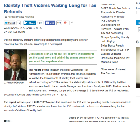 Identity Theft Victims Waiting Long for Tax Refunds, 2015