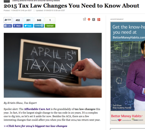Tax Law Changes You Need to Know About, January 2015