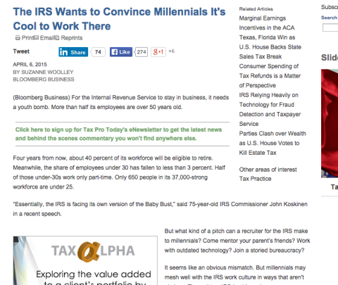 The IRS Wants to Convince Millennials It's Cool to Work There, April 2015