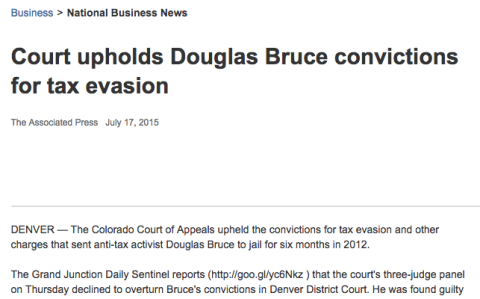 Denver taxpayer advocate Douglas Bruce's conviction upheld in court.